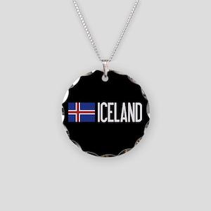 Iceland: Icelandic Flag & Ic Necklace Circle Charm