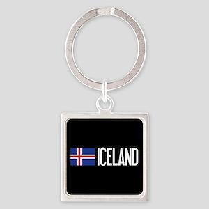 Iceland: Icelandic Flag & Iceland Square Keychain