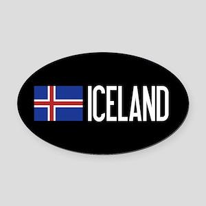 Iceland: Icelandic Flag & Iceland Oval Car Magnet