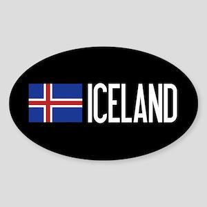 Iceland: Icelandic Flag & Iceland Sticker (Oval)