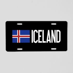 Iceland: Icelandic Flag & I Aluminum License Plate