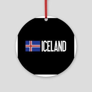 Iceland: Icelandic Flag & Iceland Round Ornament