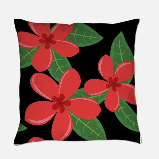 Plumeria Blossoms RED on BLACK Everyday Pillow