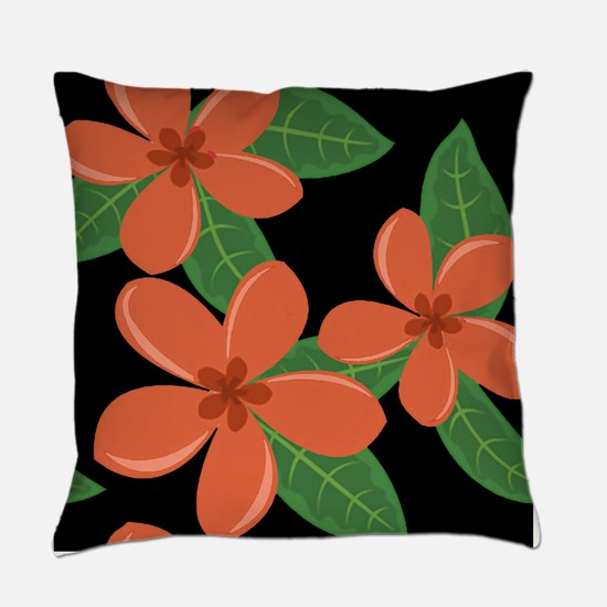 Plumeria Blossoms ORANGE on BLACK Everyday Pillow