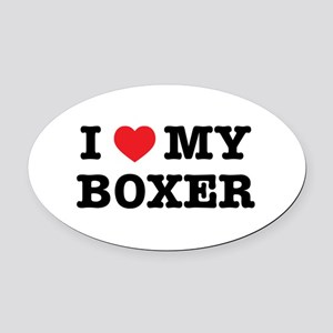 I Heart My Boxer Oval Car Magnet