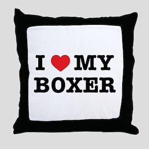 I Heart My Boxer Throw Pillow