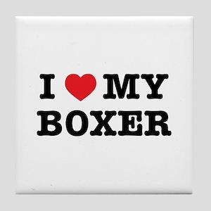 I Heart My Boxer Tile Coaster