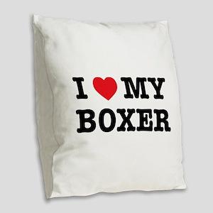 I Heart My Boxer Burlap Throw Pillow