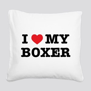 I Heart My Boxer Square Canvas Pillow