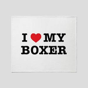 I Heart My Boxer Throw Blanket