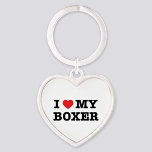 I Heart My Boxer Keychains