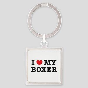 I Heart My Boxer Keychains