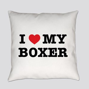 I Heart My Boxer Everyday Pillow
