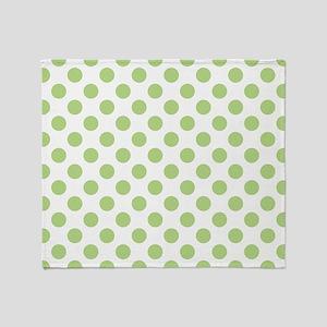 Light Green Polka Dot Print Throw Blanket