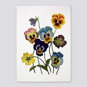 PARADE OF PANSIES 5'x7'Area Rug