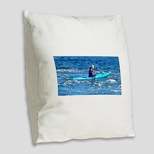 The Rower Burlap Throw Pillow