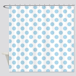 Light Blue Polka Dots Shower Curtain