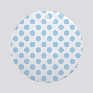 Light Blue Polka Dots Round Ornament