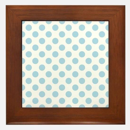 Light Blue Polka Dots Framed Tile