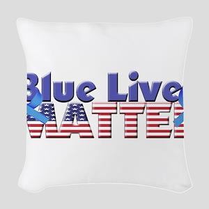 Blue Lives Matter Woven Throw Pillow