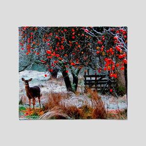Deer in Orchard Throw Blanket
