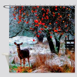 Deer in Orchard Shower Curtain
