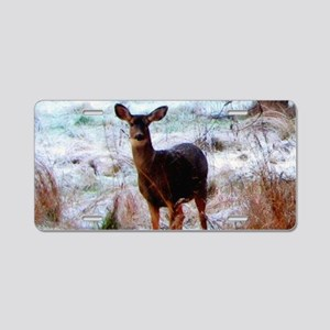Deer in Orchard Aluminum License Plate