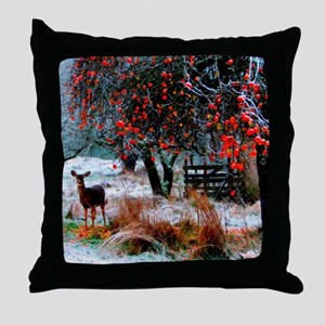 Deer in Orchard Throw Pillow