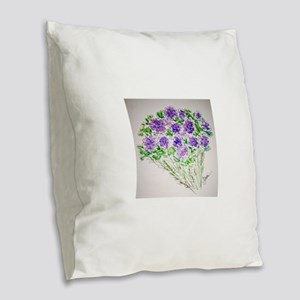 Purple in Bloom! Burlap Throw Pillow