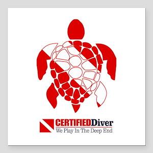 """Turtle Dive Flag Square Car Magnet 3"""" x 3"""""""