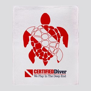 Turtle Dive Flag Throw Blanket