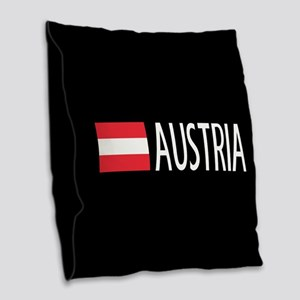 Austria: Austrian Flag & Austr Burlap Throw Pillow