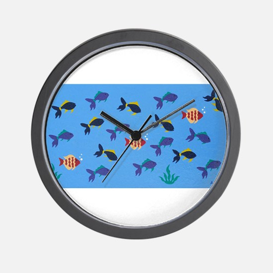 Fish Oil Painting Art Wall Clock