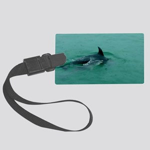 Natural Mother Dolphin and Baby Large Luggage Tag