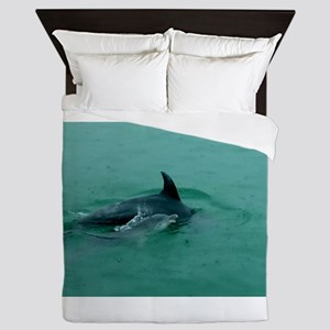 Natural Mother Dolphin and Baby Queen Duvet