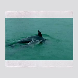 Natural Mother Dolphin and Baby Throw Blanket