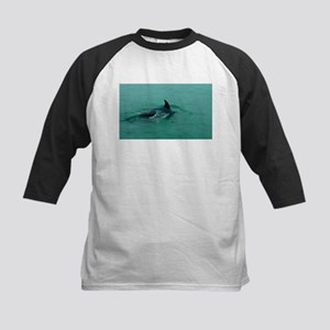 Natural Mother Dolphin and Baby Baseball Jersey