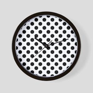Black Polka Dot Print Pattern Wall Clock