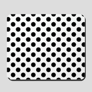 Black Polka Dot Print Pattern Mousepad