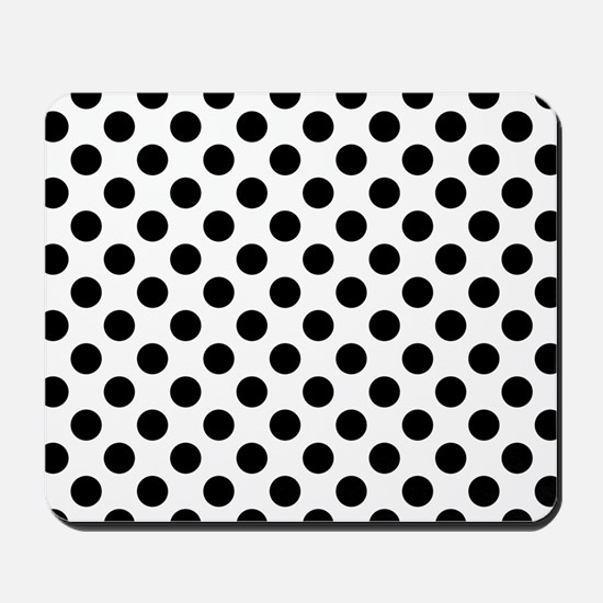 Black Polka Dot Print Pattern Mousepad