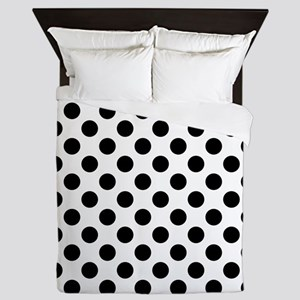 Black Polka Dot Print Pattern Queen Duvet