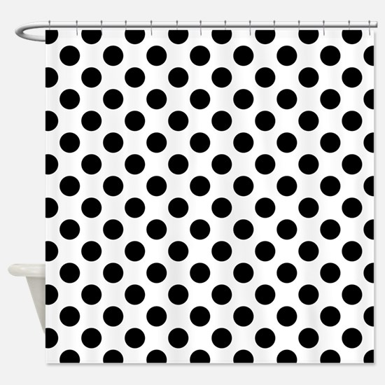 Black Polka Dot Print Pattern Shower Curtain