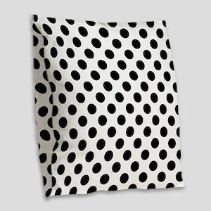 Black Polka Dot Print Pattern Burlap Throw Pillow