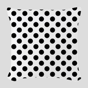 Black Polka Dot Print Pattern Woven Throw Pillow