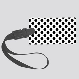 Black Polka Dot Print Pattern Large Luggage Tag