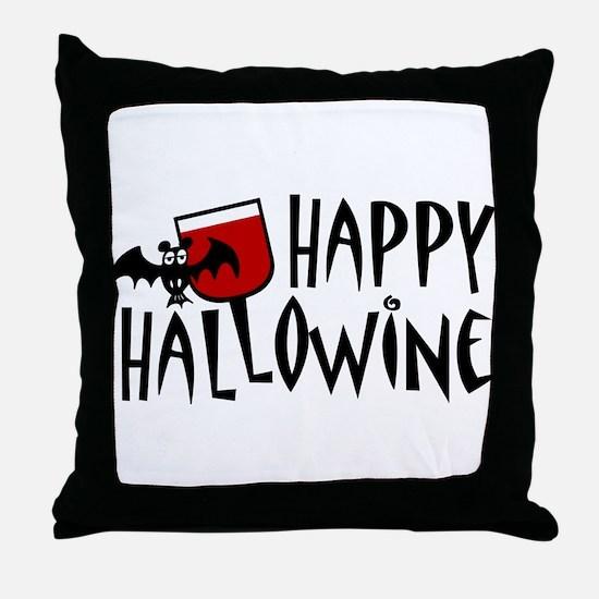 Happy Hallowine Throw Pillow