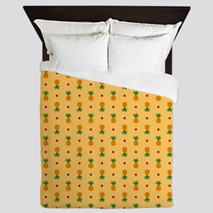 Pineapple Pattern | Orange Background Queen Duvet