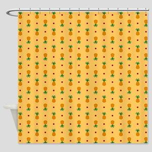 Pineapple Pattern   Orange Backgrou Shower Curtain