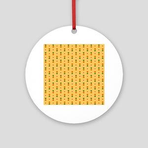 Pineapple Pattern | Orange Backgrou Round Ornament