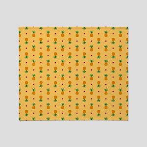 Pineapple Pattern   Orange Backgroun Throw Blanket